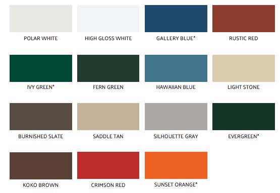 standard mini storage door colors